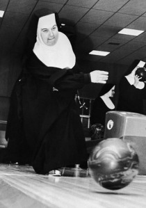 Agnes Warburton competing in the 1951 Nun Ten Pin Bowling contest. She finished ninth.