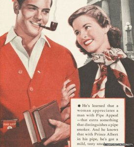 An early advertisement featuring Trevor Bilston, feeling confident in his shag choice with Miss Smethwick 1964.