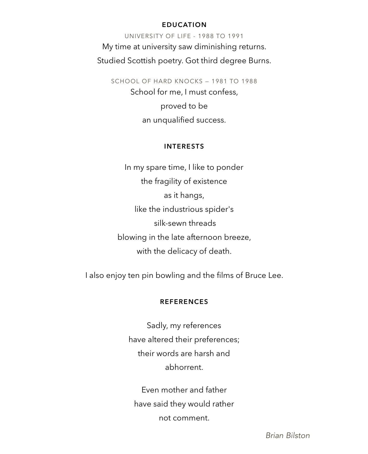 curriculum vitae brian bilston s poetry laboetry curriculum vitae